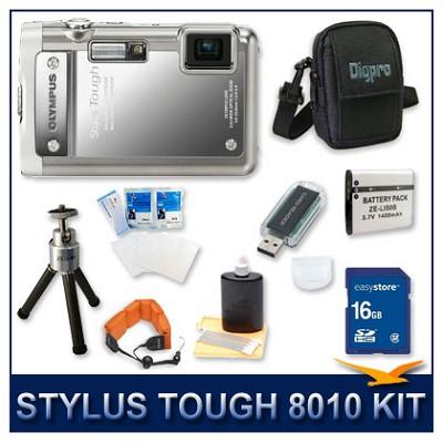Stylus Tough 8010 Waterproof Shockproof Digital Camera (Silver) w/ 16 GB Memory