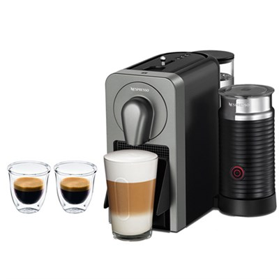 Prodigio Smart Connected Coffee and Espresso Maker & Milk Frother Grey + Glasses