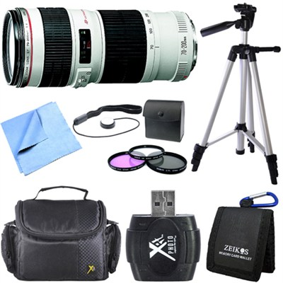 EF 70-200mm f/4L IS USM Lens with Case and Hood Exclusive Pro Kit