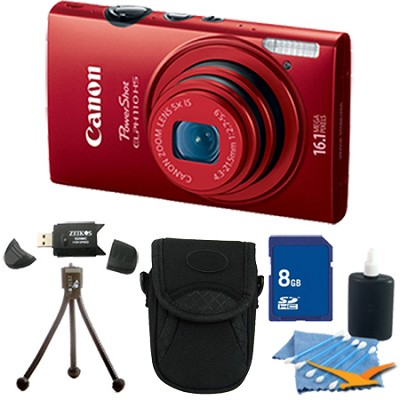 PowerShot ELPH 110 HS 16.1MP Red Digital Camera 5x Zoom HD Video 8 GB Bundle