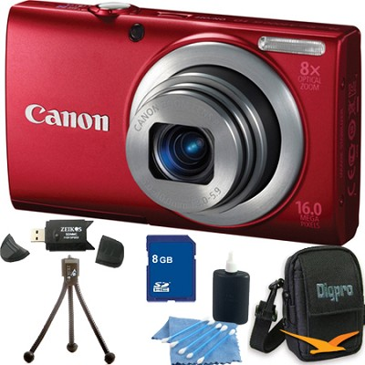 PowerShot A4000 IS 16MP Red Digital Camera 8GB Bundle