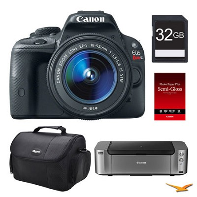 EOS SL1 DSLR Camera 18-55mm Lens, 32GB, Printer Bundle
