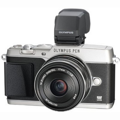 PEN E-P5 16MP Compact System Camera (Silver) 17mm f1.8 Lens and VF-4 Viewfinder