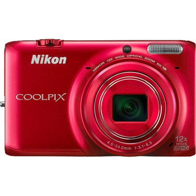 COOLPIX S6500 16 MP Digital Camera with 12x Zoom and Built-In Wi-Fi (Red)