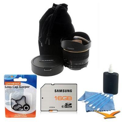 8mm f/3.5 Aspherical Fisheye Lens for Canon DSLR Cameras Pro Kit