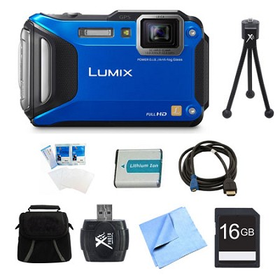 LUMIX DMC-TS6 WiFi Tough Blue Digital Camera 16GB Bundle