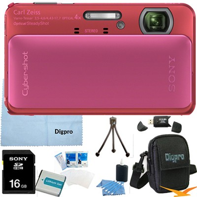 Cyber-shot DSC-TX20 16.2 MP Waterproof Shockproof Camera (Pink) 16GB Bundle