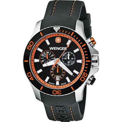 Men's Sea Force Chrono Watch - Black and Orange Dial/Black Silicone Strap