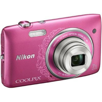 COOLPIX S3500 20.1MP 2.7` LCD Pink Digital Camera w/ HD Video REFURBISHED
