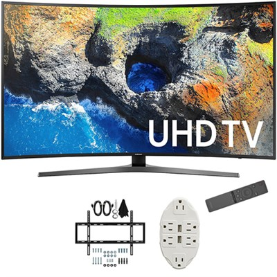 54.6` Curved 4K Ultra HD Smart LED TV 2017 Model with Wall Mount Bundle