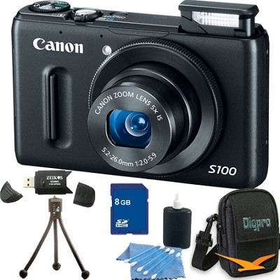 PowerShot S100 Black Digital Camera 8GB Bundle