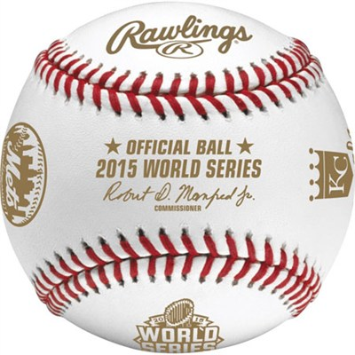2015 World Series Official Baseball Mets and Royals in Display Cube - WSBB15DL-R