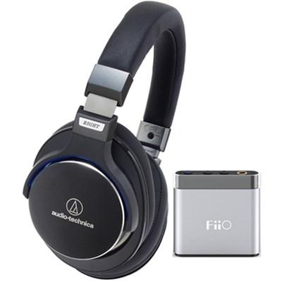 SR7 SonicPro Over-Ear High-Resolution Headphones w/ FiiO A1 Amplifier, Black