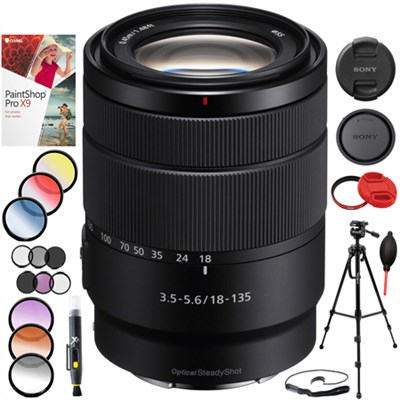 18-135mm F3.5-5.6 OSS APS-C E-mount Zoom Lens SEL18135 Tripod Filter Kit Bundle