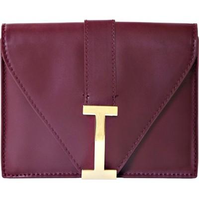 Isaac Mizrahi `I` Camera Clutch in Genuine Leather - Burgundy