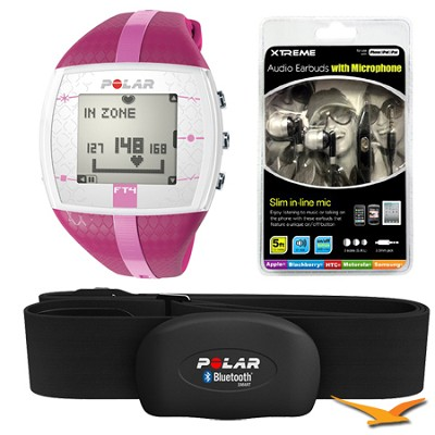 FT4 Heart Rate Monitor - Purple/Pink (90042864) Bundle