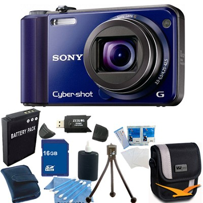 Cyber-shot DSC-H70 Blue Digital Camera 16GB Bundle