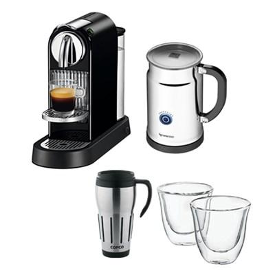Citiz Espresso Maker w/ Aeroccino Plus Milk Frother w/ Glasses & Travel Mug