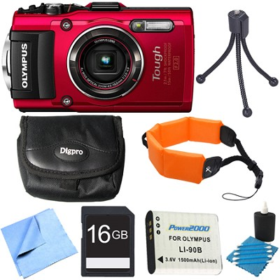TG-4 16MP 1080p HD Waterproof Digital Red 16GB Memory Card Bundle
