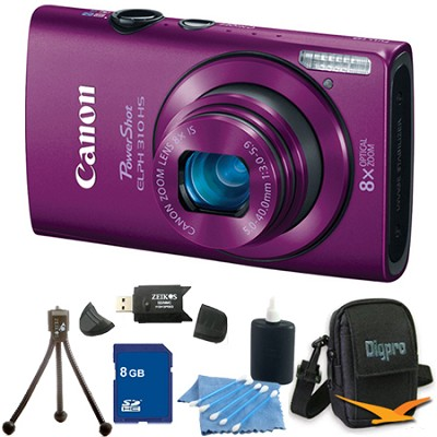 PowerShot ELPH 310 HS 12MP Purple Digital Camera 8GB Bundle