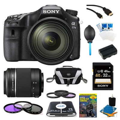a77II HD DSLR Camera with 16-50mm Lens, 32GB Card, and 55-200mm Lens Bundle