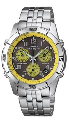 WVQ600DCA-9AV - Yellow Wave Ceptor Atomic Chronograph Stainless Steel Watch