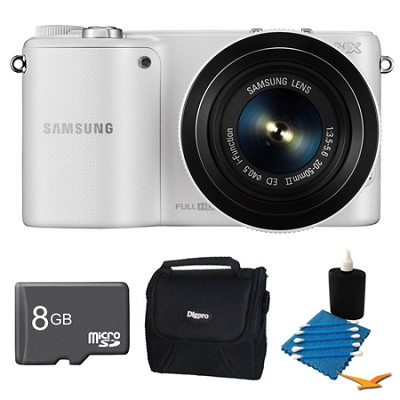 NX2000 20.3MP White Smart Digital Camera with 20-50mm Lens 8GB Bundle