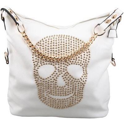 Skull Studded Hobo with Gold Details in White