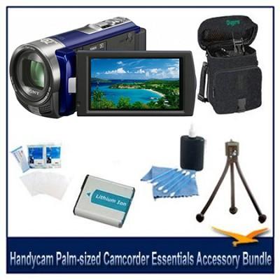Handycam DCR-SX45 Palm-sized Blue Camcorder Essentials Accessory Bundle