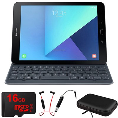 Galaxy Tab S3 9.7` Tablet Keyboad Cover Grey w/ 16GB Memory Card Bundle