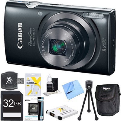 PowerShot ELPH 160 20MP 8x Opt Zoom HD Digital Camera Black 32GB Ultimate Bundle