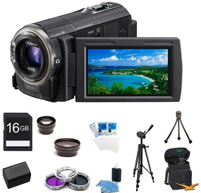 HDR-CX580V 32GB 20.4 MP Stills 12x Optical Wide Angle HD Camcorder Bundle