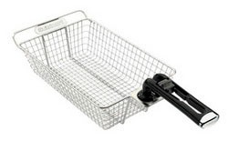 4-Inch Deep Stainless Steel Grilling Basket with Removable Handle