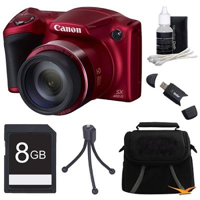 Powershot SX400 IS 16MP 30x Optical Zoom Digital Camera 8GB Bundle - Red