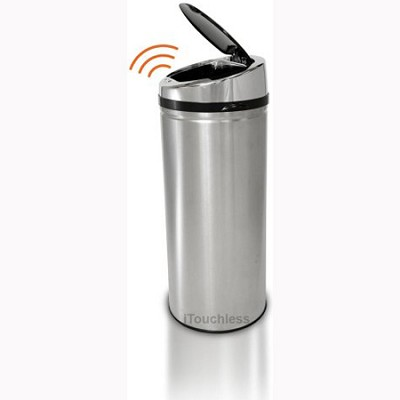 8 Gallon Round Stainless Steel Automatic Sensor Touchless Trash Can (IT08RCB)