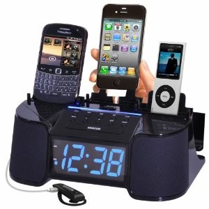 4 Port Smart Phone Charger with Alarm, Clock and FM Radio (Black)