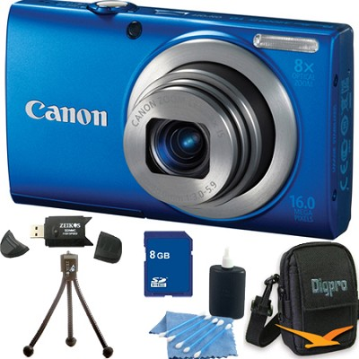 PowerShot A4000 IS 16MP Blue Digital Camera 8GB Bundle