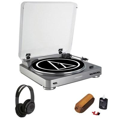 AT-LP60 Turntable + Bluetooth Transmitter Wireless Headphones Bundle