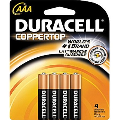 4 Pack AAA Alkaline Batteries Retail Package