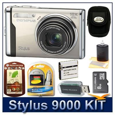 Stylus 9000 12MP 2.7` LCD Digital Camera (Champagne) Sensible Mega Bundle