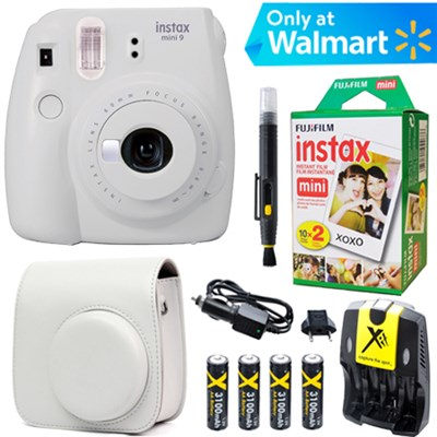 Instax Mini 9 Instant Camera  (Smokey White) + White Case + 20 pk Film Kit