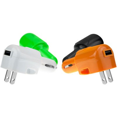 USB AC and DC Car and Wall Charger (Green)