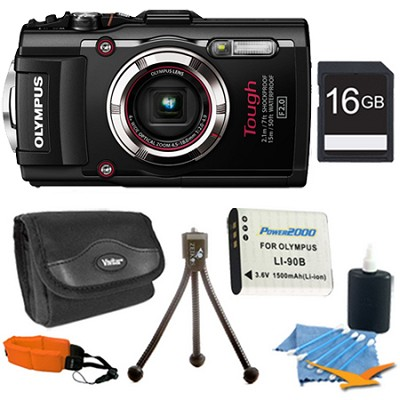TG-3 16MP 1080p HD Shockproof Waterproof Digital Camera Black 16 GB Kit