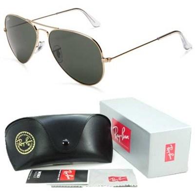 Aviator Classic Metal Sunglasses Gold Frame/Green Lens 62mm