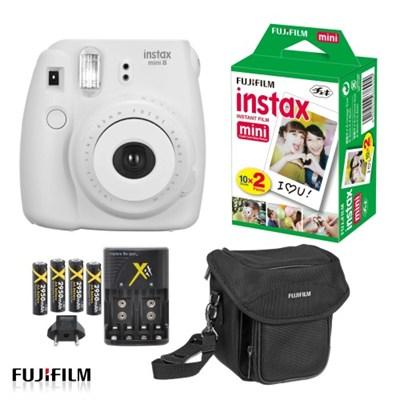 Instax Mini 8 Instant Film Color Camera in White Ultimate Bundle