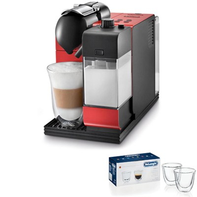 Lattissima Capsule Espresso/Cappuccino Machine (Red) 2 Glass Bundle