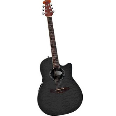 AE128 Super Shallow Acoustic-Electric Guitar Trans Black Quilted Maple