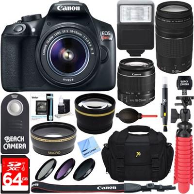 EOS Rebel T6 DSLR Camera w/ EF-S 18-55mm & 75-300mm IS II Lens 64GB Memory Kit