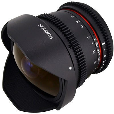 HD 8mm T3.8 Ultra Wide Fisheye Cine Lens w/ Removable Hood f/ Sony A-Mount