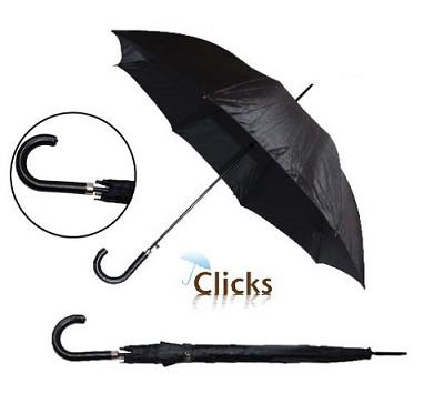 Black 46` Automatic Open Umbrella w/Stitch Hook Handle